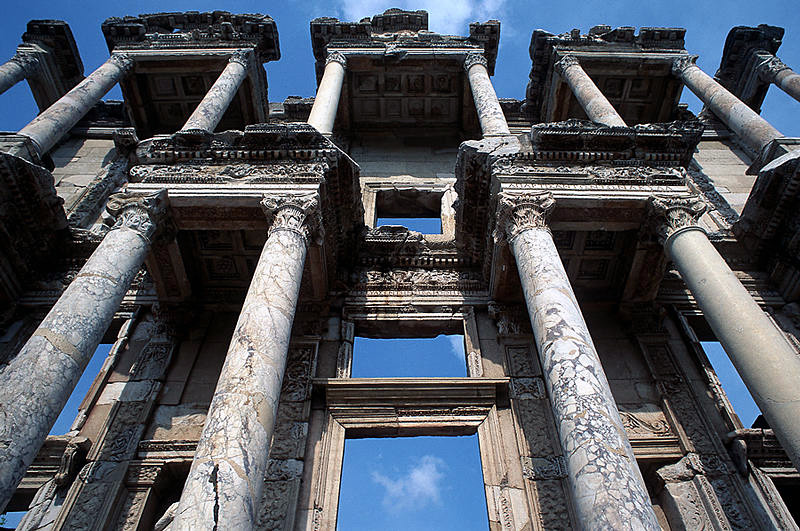 The facade of the Celsius Library at Ephesus.